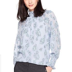 NWOT Rebecca Taylor rose Metalic silk long blouse